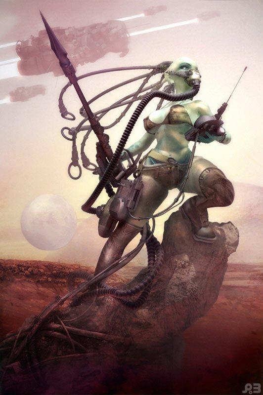 Guerriera aliena. Illustrazione di Pascal Blanché.
