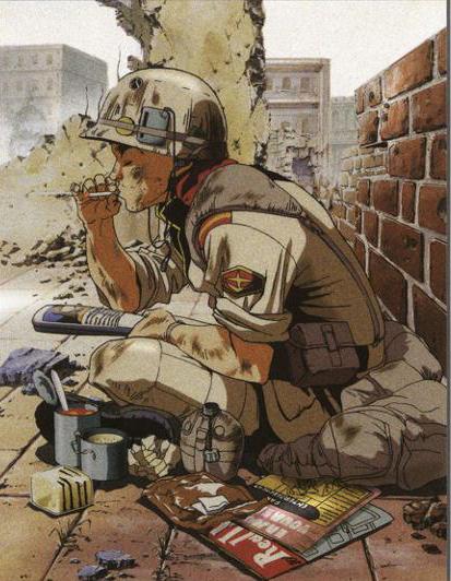Illustrazione, soldato della Federazione che fuma una sigaretta. Copyright degli aventi diritto.