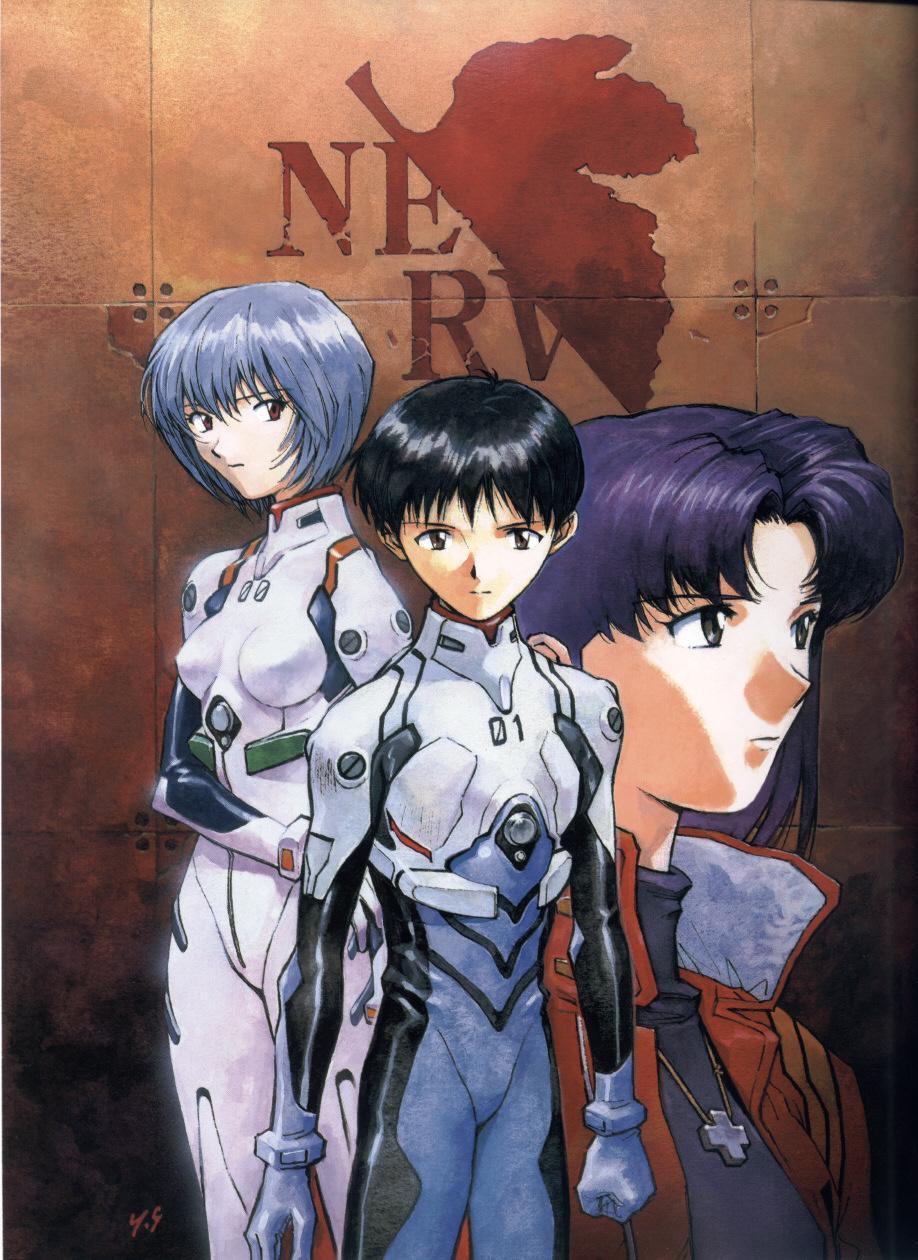 Rei, Shinji e Misato. Illustrazione di Yoshiyuki Sadamoto. Copyright degli aventi diritto.