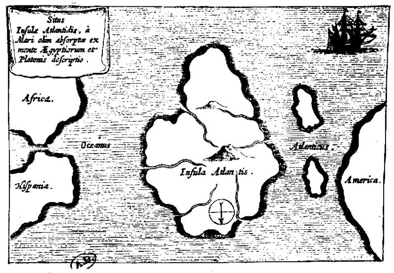 Ipotetica mappa di Atlantide presente nel Mundus Subterraneus di Athanasius Kircher (1665).