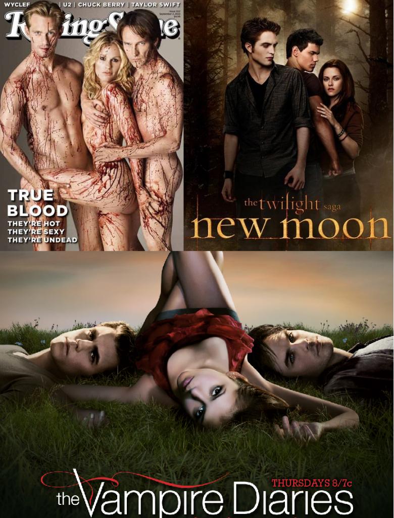 """Tre famosi triangoli vampireschi che hanno appassionato il pubblico di oggi: i telefilm del momento """"True Blood"""" e """"The Vampire Diaries"""", e il film amatissimo dai giovanissimi """"Twilight""""."""