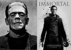 A confronto: Frankenstein nella versione cinematografica anni '50 e nella versione attuale.