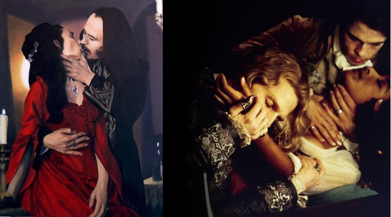 """A sinistra: scena dal film """"Dracula di Bram Stoker"""" di Francis Ford Coppola, con Gary Oldman e Winona Ryder. A destra: """"Intervista col Vampiro"""" di Neil Jordan e con Tom Cruise e Brad Pitt."""