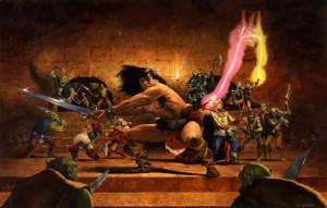 Lo sfondo sulla scatola dell'originale Heroquest di Games Workshop