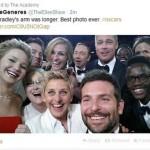 """Il super-selfie delle star hollywoodiane scattato in diretta televisiva durante la cerimonia degli Oscar dalla conduttrice Ellen De Generes,è il più twittato della storia. Come si rammarica Nella foto, scattata da Bradley Cooper, ci sono anche Brad Pitt, Angelina Jolie, Meryl Streep, Jennifer Lawrence, Julia Roberts e Kevin Spacey. Nonostante l'imperfezione, di cui si rammarica scherzosamente anche la conduttrice (""""Se Bradley avesse avuto braccia più grandi....La miglior foto di sempre"""") questo selfie risulta essere il più retwittato, con  oltre 2 milioni di condivisioni, facendo il giro del mondo in poche ore."""